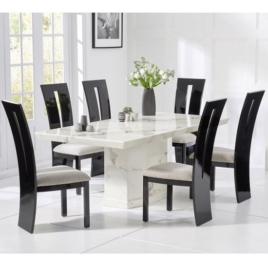 Hamlet Marble Dining Table In White With 4 Ophelia Chairs