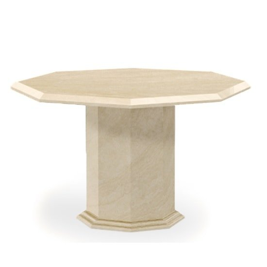 Kempton Marble Effect Dining Table Octagonal In Cream