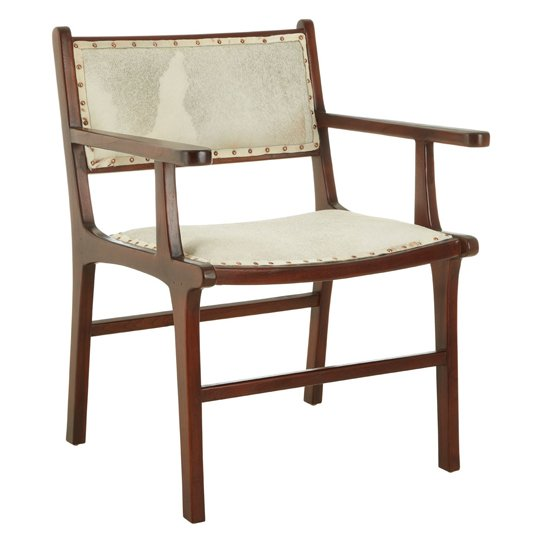 Formosa Leather Teak Wood Dining Chair In Brown