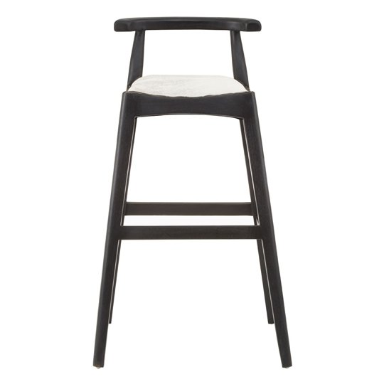 Formosa Teak Wood Black Bar Stool With White Leather