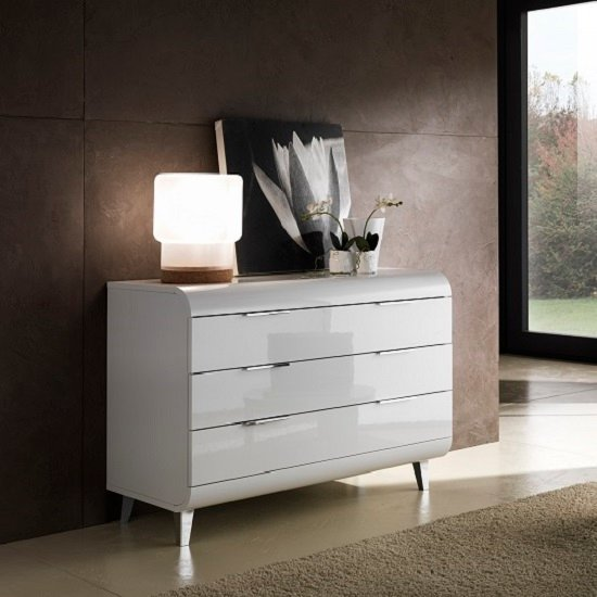 Kenia Modern Chest Of Drawers Wide In White High Gloss_1