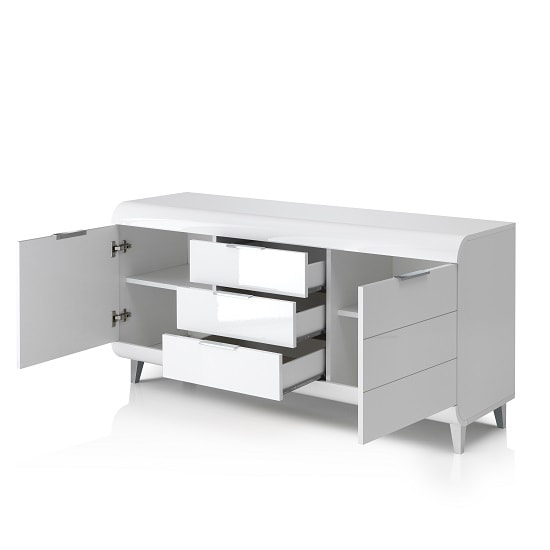 Kenia Modern Sideboard In White High Gloss With 2 Doors_2
