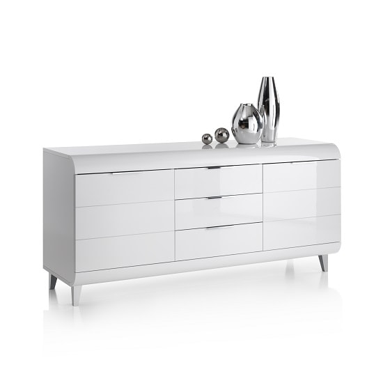 Kenia Modern Sideboard In White High Gloss With 2 Doors_3