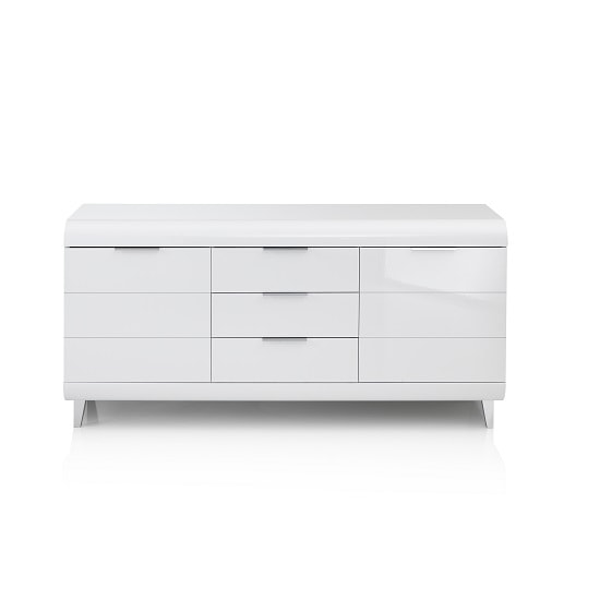 Kenia Modern Sideboard In White High Gloss With 2 Doors_4