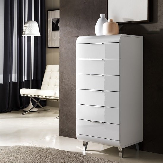 Kenia Contemporary Chest Of Drawers In White High Gloss