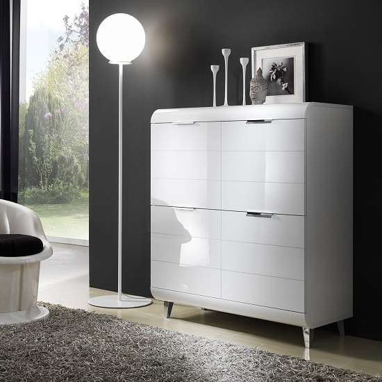 Kenia Modern Highboard In White High Gloss With 4 Doors_1