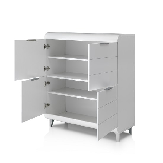 Kenia Modern Highboard In White High Gloss With 4 Doors_2