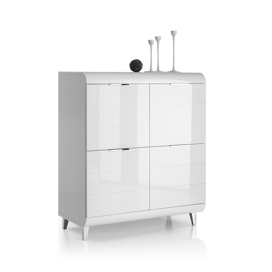 Kenia Modern Highboard In White High Gloss With 4 Doors_3