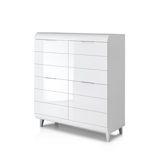 Kenia Modern Highboard In White High Gloss With 4 Doors_4