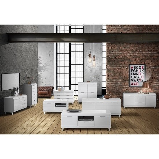 Kenia Modern Highboard In White High Gloss With 4 Doors_6