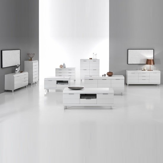 Kenia Modern Highboard In White High Gloss With 4 Doors_7