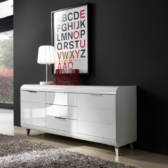 Kenia Modern Sideboard In White High Gloss With 2 Doors