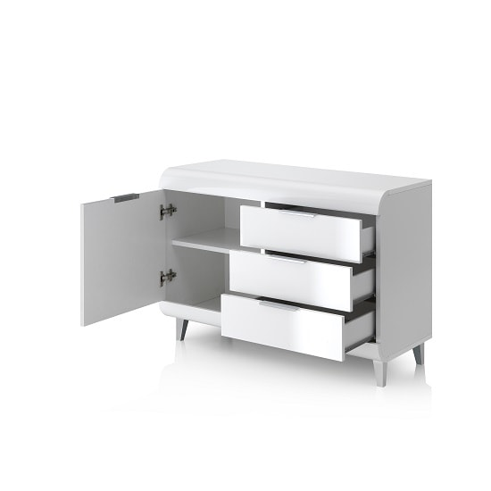 Kenia Small Sideboard In White High Gloss With 3 Drawers_2