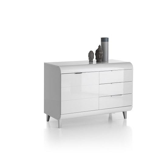 Kenia Small Sideboard In White High Gloss With 3 Drawers_3
