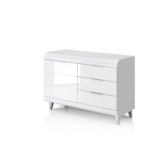 Kenia Small Sideboard In White High Gloss With 3 Drawers_4