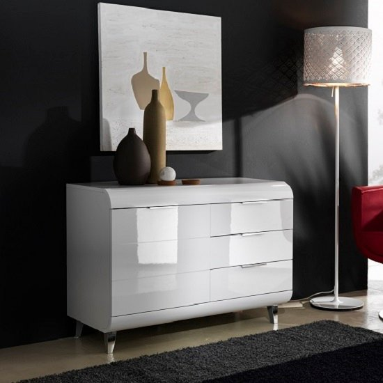 Kenia Small Sideboard In White High Gloss With 3 Drawers