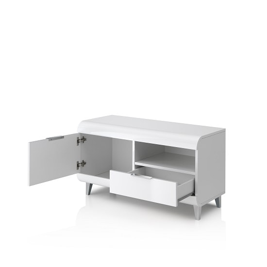 Kenia Small TV Stand In White High Gloss With Wooden Legs_2