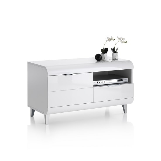 Kenia Small TV Stand In White High Gloss With Wooden Legs_4