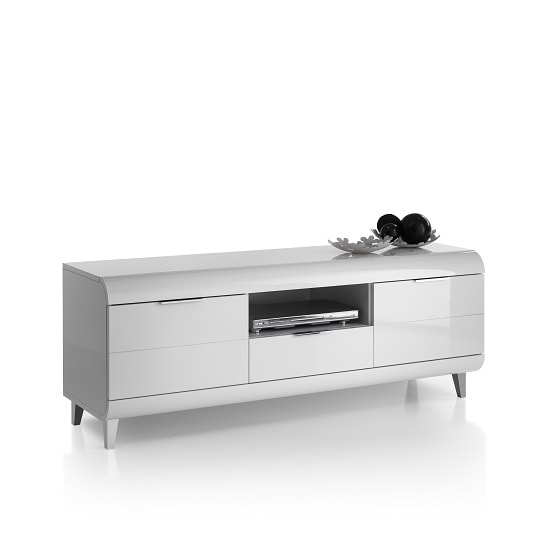 Kenia TV Stand In White High Gloss With Wooden Legs And 2 Doors_5
