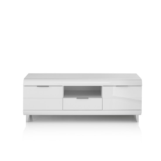 Kenia TV Stand In White High Gloss With Wooden Legs And 2 Doors_3