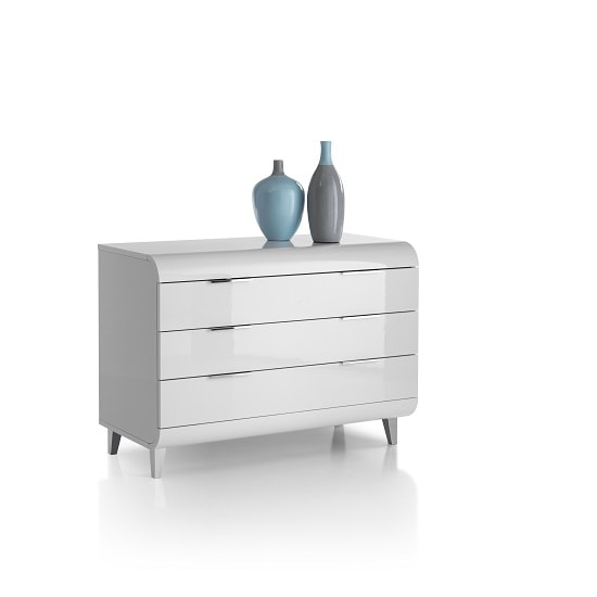 Kenia Modern Chest Of Drawers Wide In White High Gloss_3