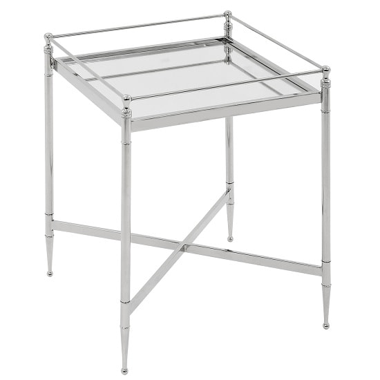 Kennedy Glass Side Table Square In Clear And Chrome Frame