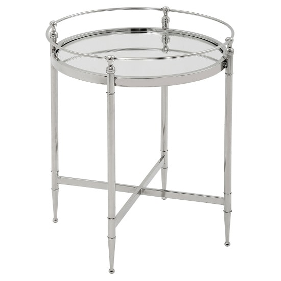 Kennedy Glass Side Table Round In Clear And Chrome Frame