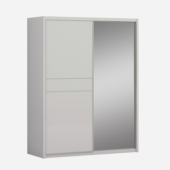Kennedy Mirror Wardrobe In Cashmere High Gloss And Sliding Doors