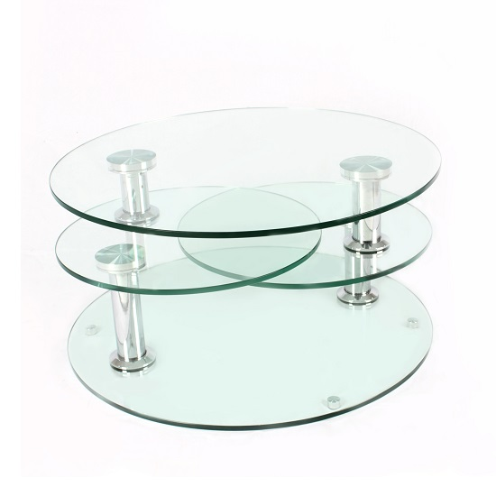 Kenos Rotating Glass Coffee Table In Clear With Chrome Base