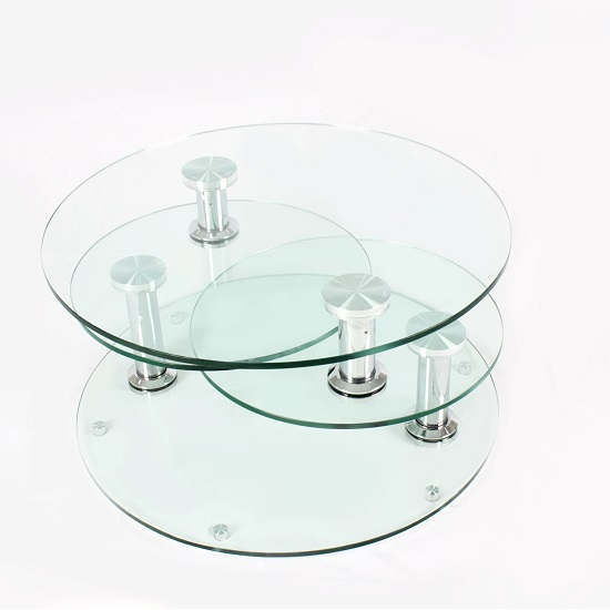 Kenos Rotating Glass Coffee Table In Clear With Chrome Base_3