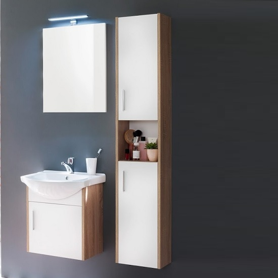 Kensa Wall Mounted Bathroom Set In White Rough Sawn Oak And LED