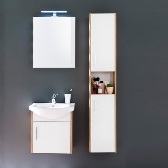 Kensa Wall Mounted Vanity Cabinet In White And Rough Sawn Oak 2