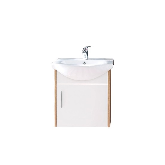 Kensa Wall Mounted Vanity Cabinet In White And Rough Sawn Oak