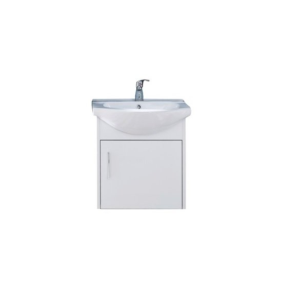 Kensa Wall Mount Vanity Cabinet With Sink In White Gloss Fronts