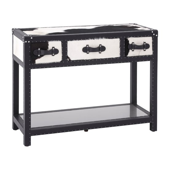 Kensick Cowhide Leather Console Table In Black And White