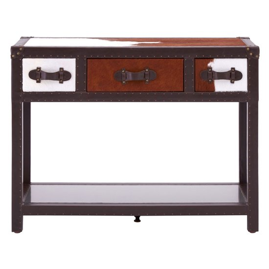 Kensick Cowhide Leather Console Table In Brown And White_2