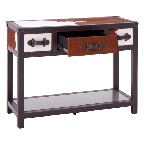 Kensick Cowhide Leather Console Table In Brown And White_3