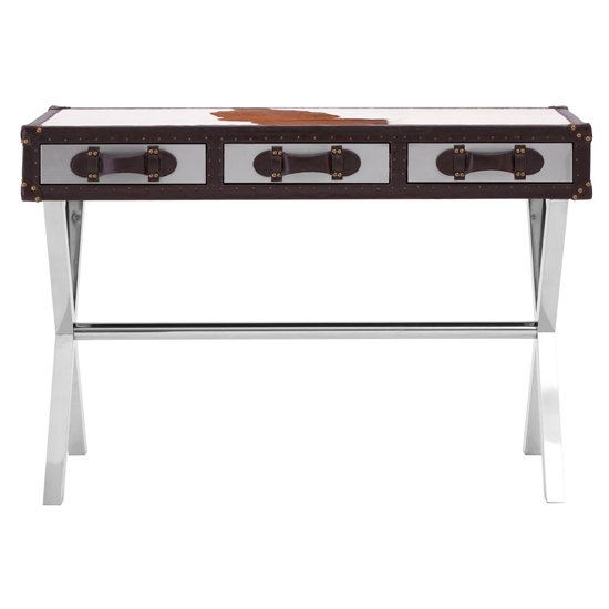 Kensick Cowhide Leather Slim Console Table In Brown And White_2