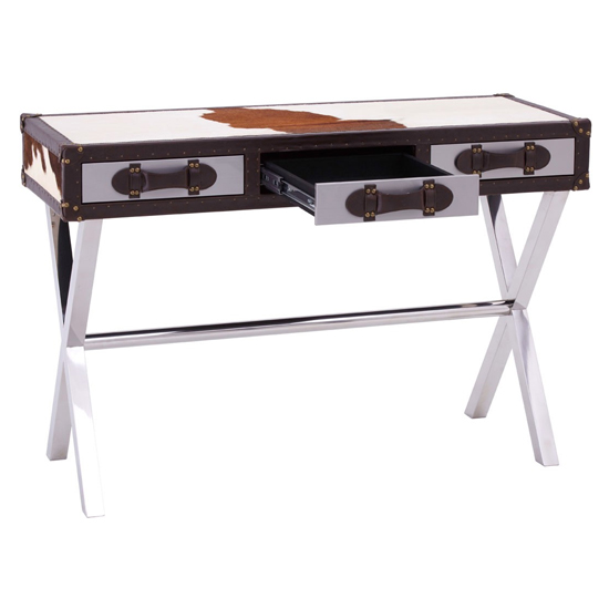Kensick Cowhide Leather Slim Console Table In Brown And White_3