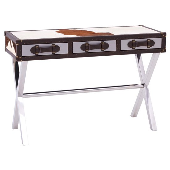 Kensick Cowhide Leather Slim Console Table In Brown And White_1