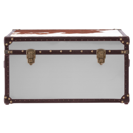 Kensick Cowhide Leather Storage Trunk In Brown And White_2