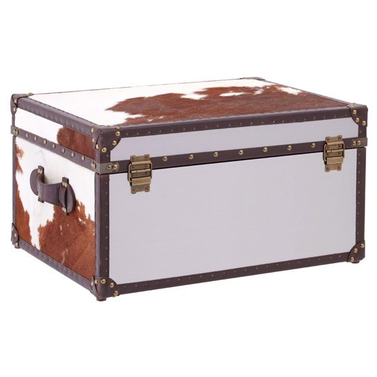 Kensick Cowhide Leather Storage Trunk In Brown And White_3