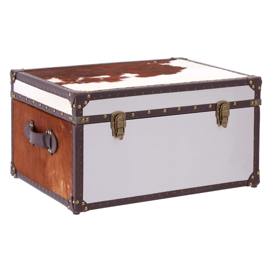 Kensick Cowhide Leather Storage Trunk In Brown And White_1