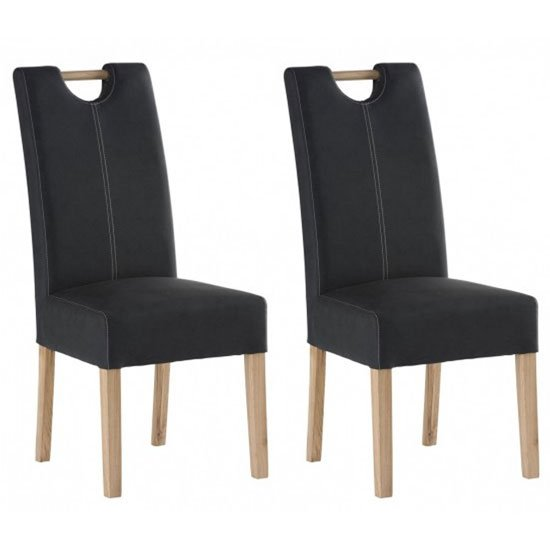 Kensington Anthracite Leather Dining Chair In Pair With Oak Leg