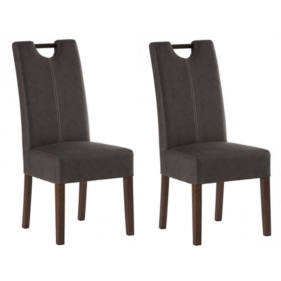 Kensington Chocolate Leather Dining Chair In Pair With Dark Leg