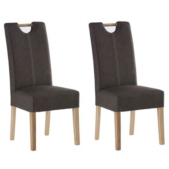 Kensington Chocolate Leather Dining Chair In Pair With Oak Leg