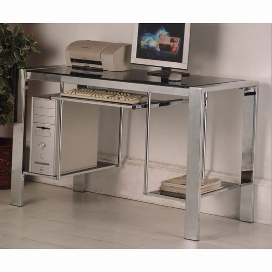 Naxis Black Glass Computer Desk