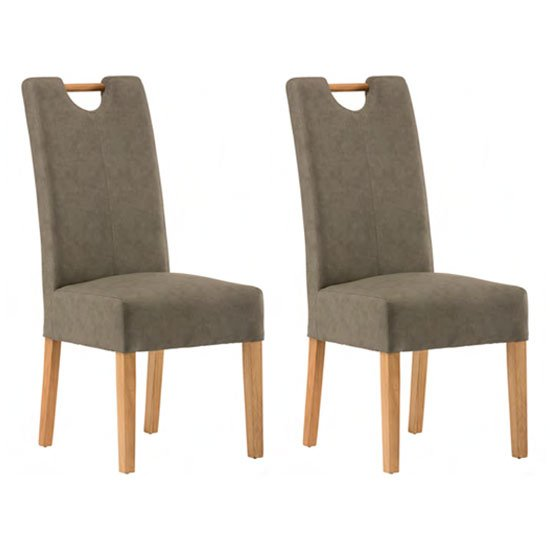 Kensington Grey Leather Dining Chair In Pair With Oak Leg