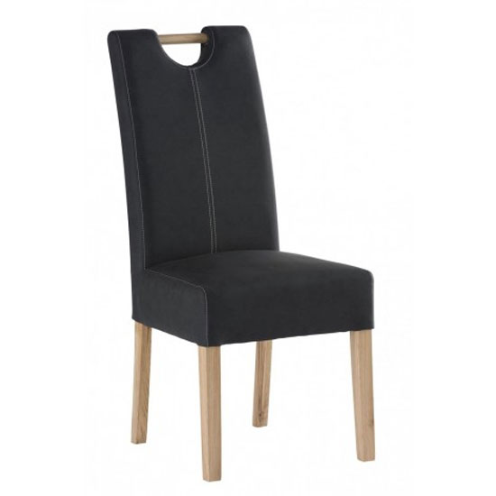 Kensington Leather Dining Chair In Anthracite With Oak Leg
