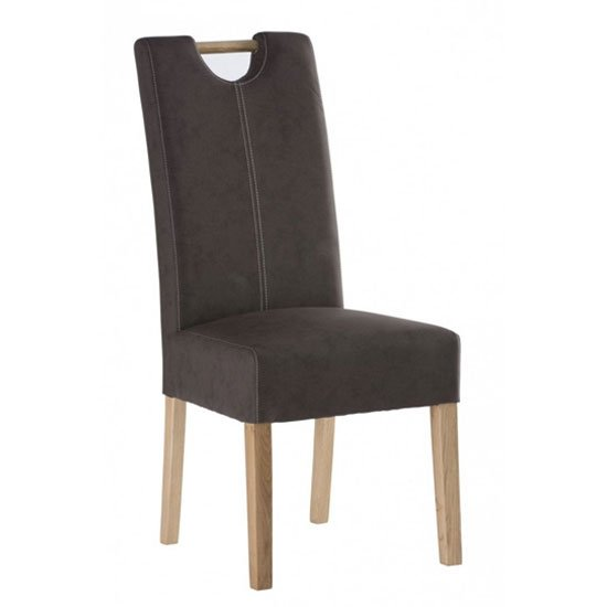 Kensington Leather Dining Chair In Chocolate With Oak Leg_1